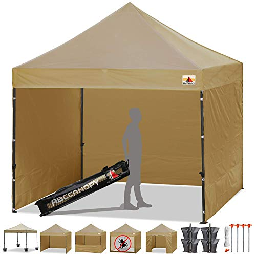 ABCCANOPY Canopy Tent 10 x 10 Pop Up Canopies Commercial Tents Market stall with 4 Removable Sidewalls and Roller Bag Bonus 4 Weight Bags and 10ft Screen Netting and 10ft Half Wall(30+Muti Colors) - Gold Tent Stakes