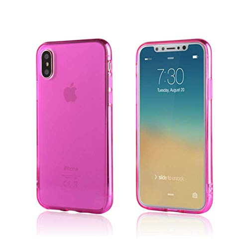 iPhone Xs & X Case/Slim & Soft Transparent Hot Pink Cover for iPhone Xs (2018) and X (2017) / Soft Flexible & Stylish Colors Compatible with All 5.8 inch X/XS Models (Pink, X/XS 5.8
