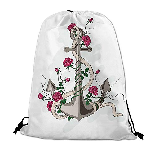 Rose Lightweight Drawstring Bag,Hand Drawn Illustration of Sea Anchor Entwined with Flowers and Marine Rope Decorative for Travel -