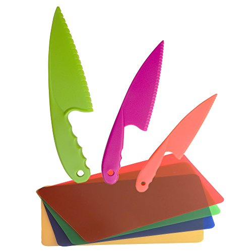 (Plastic Kitchen Knife Set of 3 in 3 colors for Kids with Flexible Plastic Cutting Board Mats set of 4 Colors. Safe Nylon Cooking Knives and Cutting Boards for Children, for Lettuce or Salads)