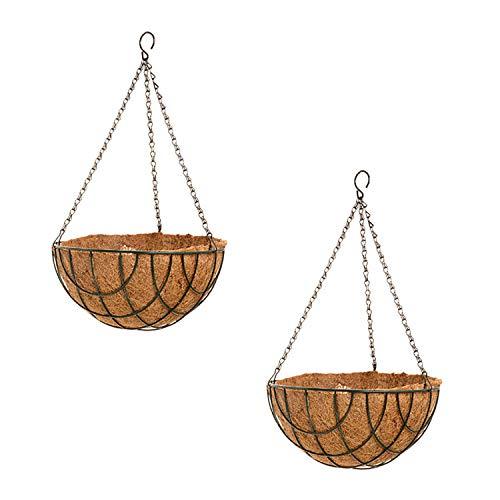 (Set of 2 Hanging Wire Planter Baskets with Coconut Fiber Liner - Bundle Pack of 2-12 inches Hanging Flower Pot Basket for Home Garden Patio Deck)