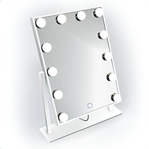 Krugg Dimmable Mini Hollywood Mirror | Portable LED Vanity Makeup Mirror |Table Top Plug-in (White)