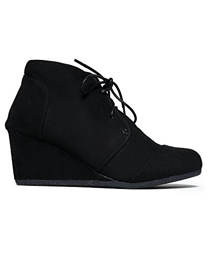 Charles Albert Rex Womens Suede Wedges Lace Up Bootie (10, Denim)