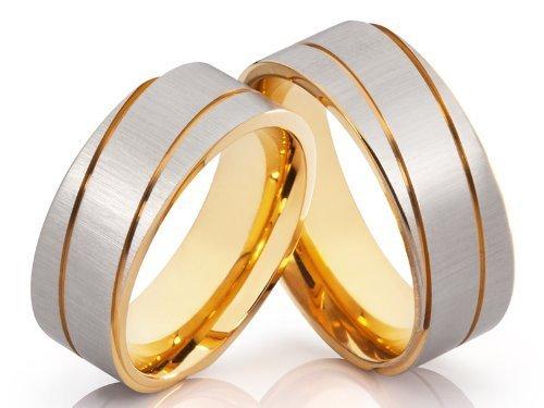2 anillos de alianzas y corazones Póster con anillos de compromiso anillos de alianzas de Bicolor