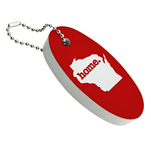 GRAPHICS & MORE Wisconsin WI Home State Solid Red Officially Licensed Floating Foam Keychain Fishing Boat Buoy Key Float