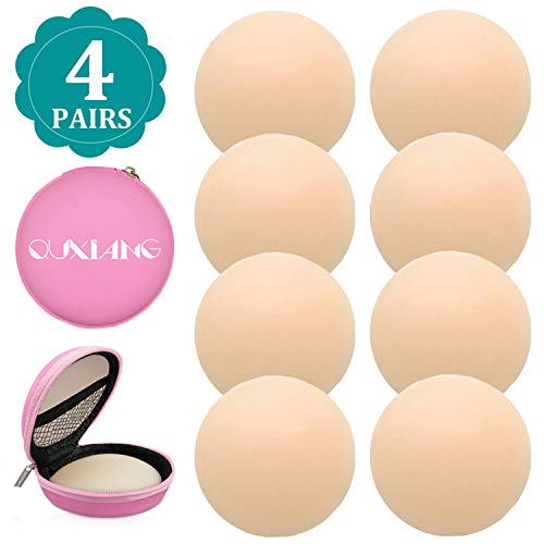 QUXIANG 4 Pairs Pasties Women Nipple Covers Reusable Adhesive Silicone Nippleless Covers (4 Round) (Dimrs Silicone)