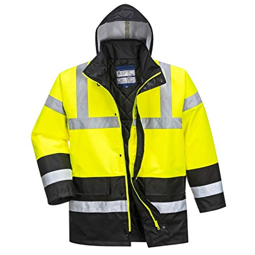 (Hi Vis Contrast Traffic Jacket - Lightweight Rain Jacket for Men - Ansi Class 3, High Visibility, Insulated (6XL, HiViz Yellow/Black))