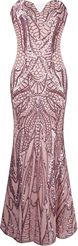 Angel-fashions Women's Notched Strapless Paillette Column Sheath Prom Dress Medium,Pink