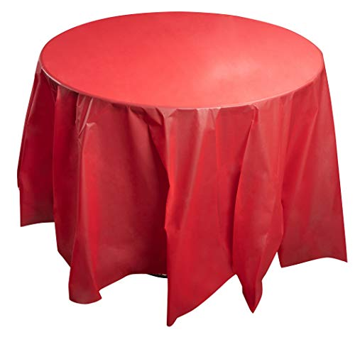 Juvale 12-Pack Red Plastic Tablecloth - Round 84-Inch Disposable Table Cover, Fits Up to 72-Inch Round Tables, Solid Red Color, Indoor Outdoor Party Supplies]()