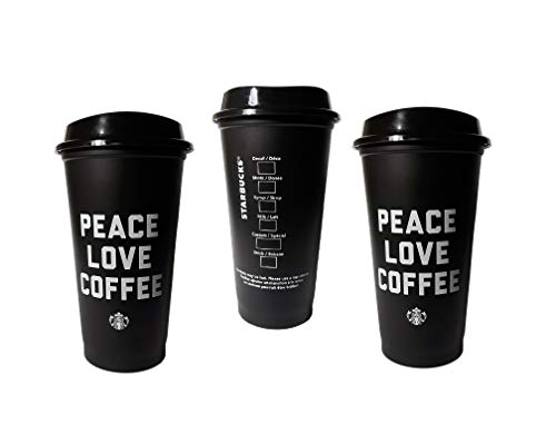 Peace Love Coffee - Starbucks Peace Love Coffee Black Reusable Grande 16 Ounce Cup with Lids (5 Pack)