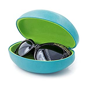Hard Sunglass Case with Microfiber Cleaning Cloth | Oversized Case to protect Large Size Sunglassess | For Men & Women | Metal Clam Shell (AS413 Teal)