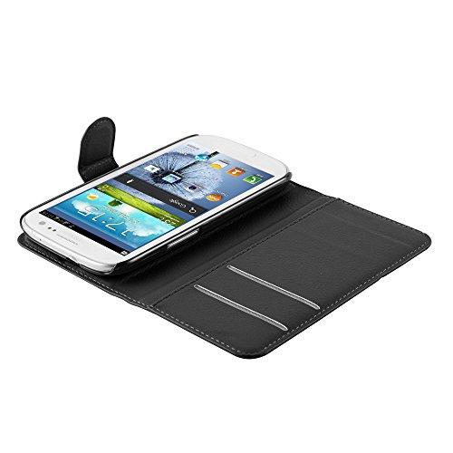 Cadorabo - Funda Samsung Galaxy S3 MINI / VALUE EDITION (GT-i8190 / 8200) Book Style de Cuero Sintético en Diseño Libro - Etui Case Cover Carcasa Caja Protección (con función de suporte y tarjetero) e NEGRO-FANTASMA