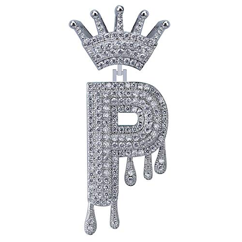 HECHUANG Micropave Simulated Diamond Iced Out Crowned Initial Dripping Letters Pendant with Rope Chain (Silver P, 24) ()