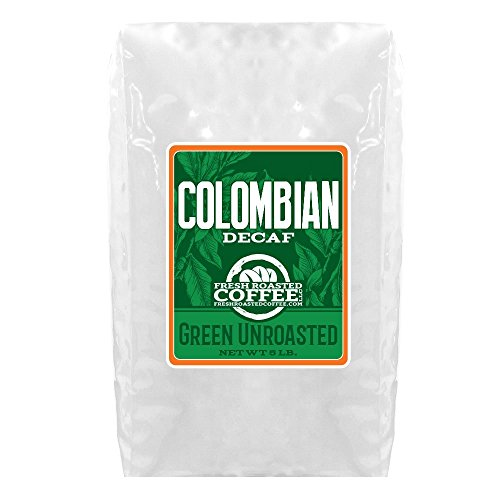 Green Unroasted Coffee, 5 Lb. Bag, Fresh Roasted Coffee LLC. (Colombian Decaf)