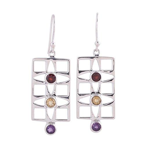 NOVICA Multi-Gem Amethyst .925 Sterling Silver Dangle Earrings
