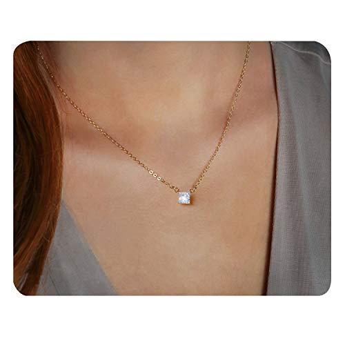 POTESSA 18K Gold Plated Cubic Zirconia Bezel-Set Solitaire Bar Choker Necklace for Women