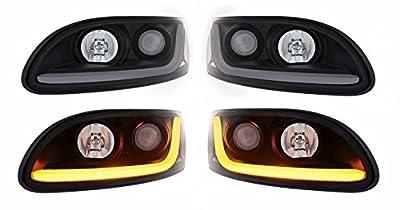 Peterbilt 386/387 Projection Headlight w/Dual Function LED Light Bar-Both Sides