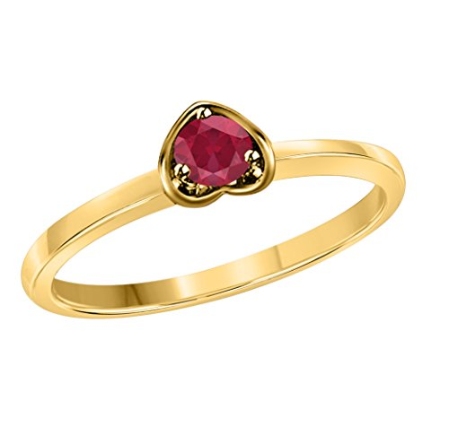 Star Retail Jewelry Round Cut Solitaire Created Red Ruby Engagement Love Forever Heart Promise Ring in 14k Yellow Gold Plated Available Sizes 4 to 11