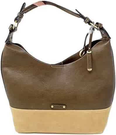 22a5250337 Simply Noelle 5th Avenue Suede and Vegan Faux Leather Large Hobo Handbag in  Java