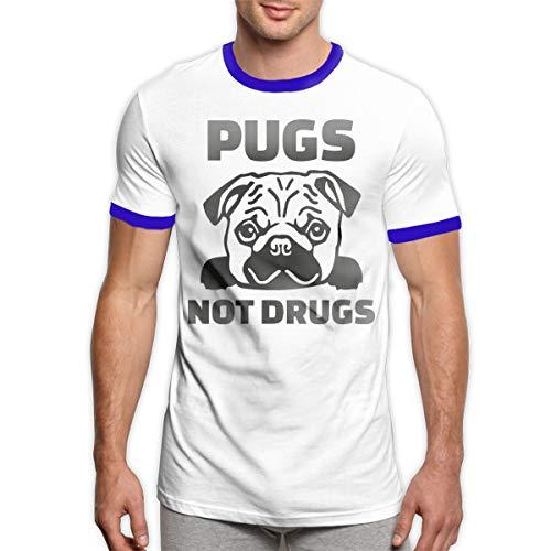 (Men's Essential Cotton Ringer T-Shirt Pugs Not Drugs Print Tee Shirt Top)