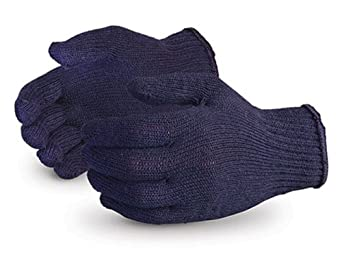 Superior SQBUD SureKnit Cotton/Polyester Economy String Knit Glove with PVC Dotted Palms, Work, 7 Gauge Thickness, X-Large, Blue (Pack of 1 Dozen)