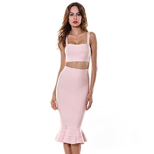 720b0a833b 80%OFF Whoinshop Women's Strappy Two Pieces Mermaid Skirt Set Bodycon  Bandage Cocktail Dress