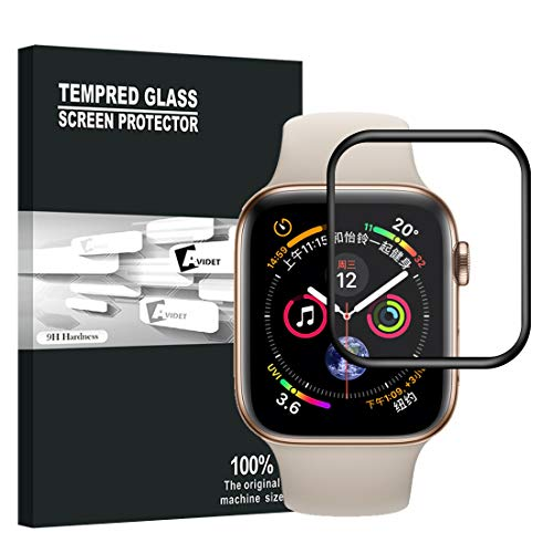 【Upgraded Version】【Full Glue Coverage】 AVIDET No Bubble Premium Quality Full Screen Coverage 3D Anti-Scratch 9H Hardness Tempered Glass Screen Protector Compatible Apple Watch Series 4 44mm (B