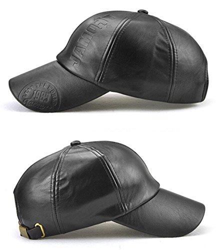 Sol Moleteado Cuero Negro Invierno de e Beisbol de Ajustable de Gorra Otoño Roffatide PU Sombrero Hombre 5Eq5v