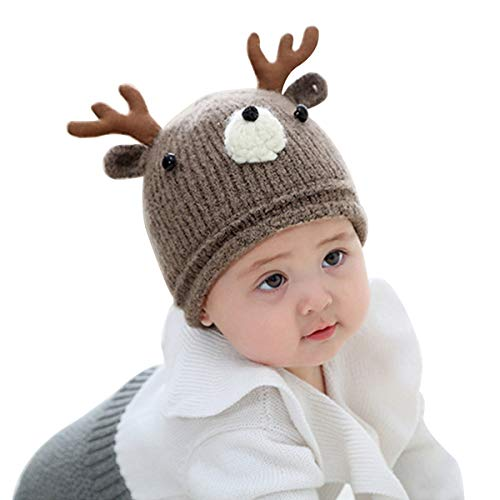 Huuflyty Soft Warm Knitted Baby Hats Caps Cute Cozy Chunky Winter Infant Toddler Baby Beanies for Boys Girls (Warm Knitted 01)