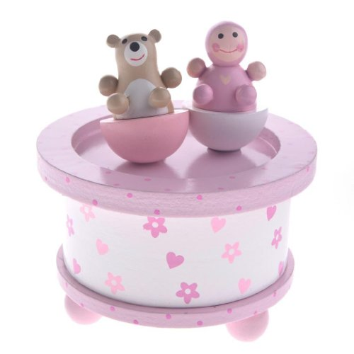 Baby Girl and Bear Traditional Wooden Music Box by Gisela Graham