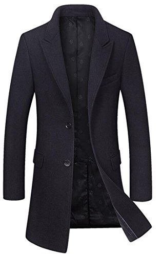 SYTX Mens Trench Jacket Winter Two Button Wool Peacoat Overcoat Black XS