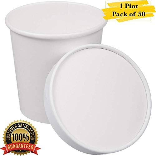 (MM Foodservice 1 Pint White Paper Double Wall Ice Cream Cups with Paper Lid, 16-Ounce Disposable Ice Cream Container with Lid, Pack of 50)