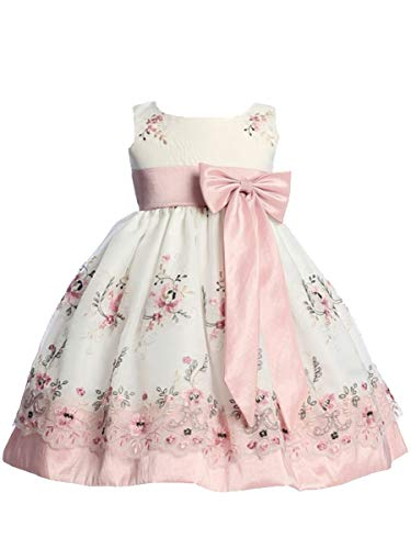 - Ivory Organza Easter Dress with Dusty Rose Embroidery and Dusty Rose Taffeta Waistband, Sash, and Bow 12-18 Month