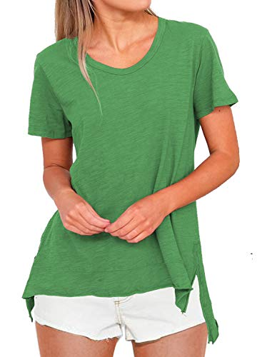 MIHOLL Short Sleeve Tees High Low Shirts Loose Casual Tops Blouse (X-Large, Green)