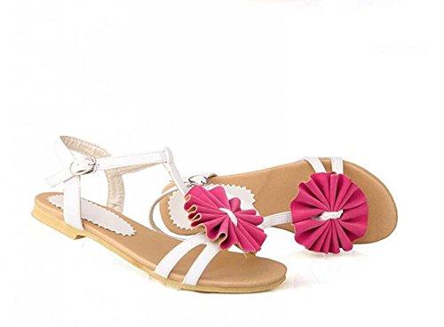 34 Sandali Strap Nero Peep Taglia Myi Sandalo Cross Buckle Temperamento Rosso 40 Shoes toe tYqwPg