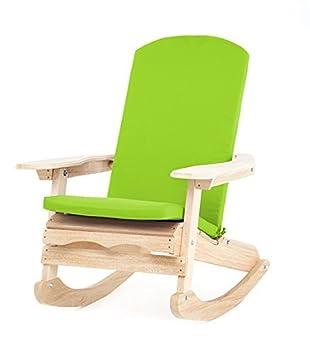 201ed4881 Acabado Natural silla mecedora Adirondack Garden incluye verde lima cojín  resistente al agua.
