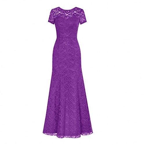 Gown Short Evening Crew AK Neck Long Prom Women's Lace Sleeve Purple Beauty Dresses vqR4P6
