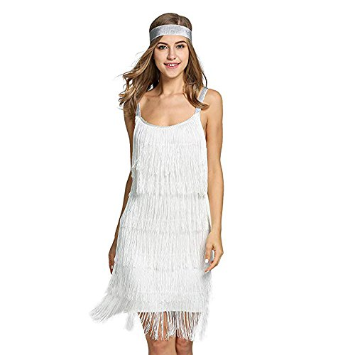 (Palove Vintage Vestido 1920s Flapper Girl Fancy Dress Great Gatsby Dress Costumes Slash Neck Tiered Fringe Swing Party Dress Headband, White/XL )