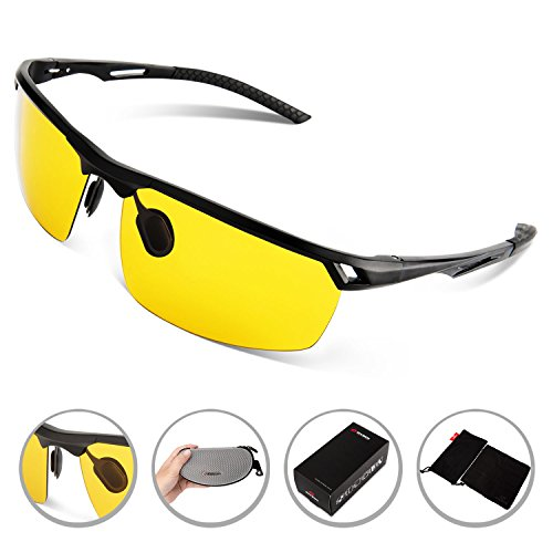 Rivbos Sp005 Polarized Sports Sunglasses Driving Glasses with Mirror Lens Pouch Cloth Case for Golf Driving Night Version Lens in Options (Black, Yellow Night (No Prescription Color Contacts)