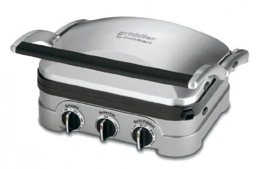 Cuisinart 5 In 1 Griddler with Panini Press, Full Grill, Full Griddle and Half Grill/Half Griddle Options, Includes Dishwasher Safe Removable Cooking Plates and Red/Green Indicator Lights For Sale