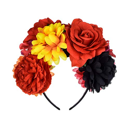 DreamLily Frida Kahlo Mexican Rose Flower Crown Headband Halloween Party Costume Headpiece NC26 (Red Yellow Black)]()