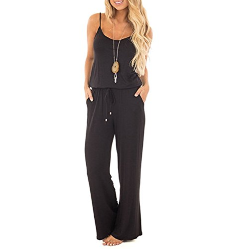 Yaso Womens Casual Sleeveless Off Shoulder Jumpsuit Summer Solid Spaghetti Strap Romper Wide Leg Pants Style Black M by Yaso