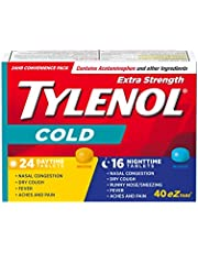 TYLENOL Extra Strength Cold eZ Tabs, Relieves Cold symptoms, Daytime and Nighttime, Convenience Pack, 40ct
