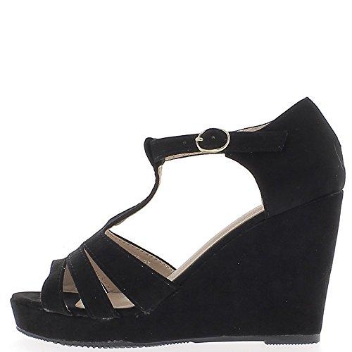Sandales compensées noires à talons de 9,5 cm et plateforme effet daim