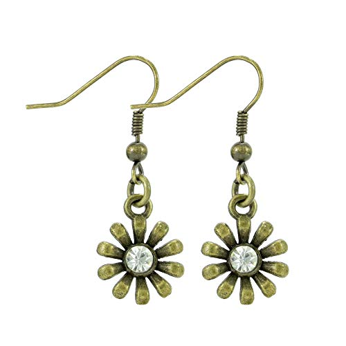 Rhinestone Bronze Tone Flower Earrings, Handmade Small Blossom Fishhook Dangle Women's Earring Set
