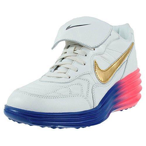 Nike Womens W Nike Lunartiempo Sky Hi PRM Ivory/Metallic Gold Coin-Black Leather Fashion Sneakers Size 8