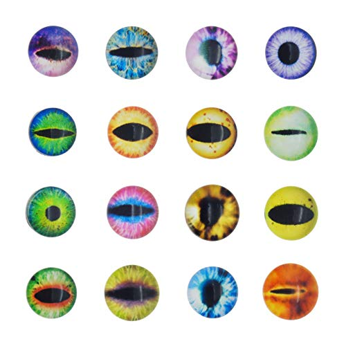 100pcs 25mm Dragon Eye Dome Printed Glass Cabochons Bezel Mixed Pattern Flatback Half Round Charms for Cameo Pendant Making Dinosaur Owl Animals' Eye Crafts -