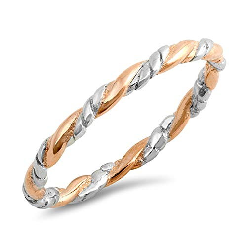 Rose Gold-Tone Twisted Rope Stacking Ring .925 Sterling Silver Band Size -