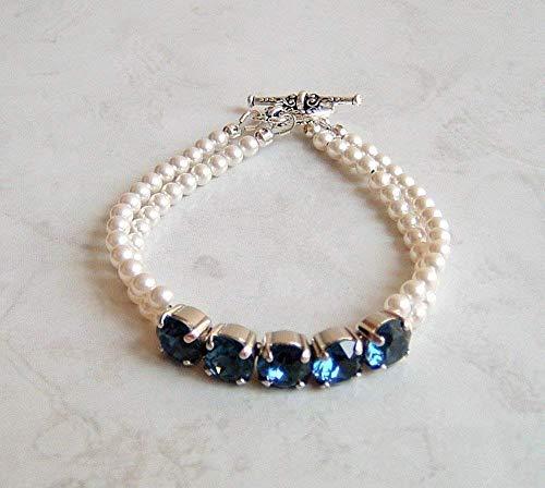Dark Blue Round Swarovski Crystal White Simulated Pearl 2 Strand Silver-Tone Bracelet Gift Idea 7 Inch