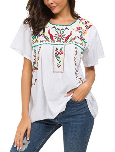 YZXDORWJ Women's Embroidered Mexican Peasant Blouse (2XL, White59)
